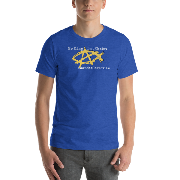 AnarchoChristian - No King But Christ - Anarchist Jesus Fish Premium T-Shirt - Proud Libertarian