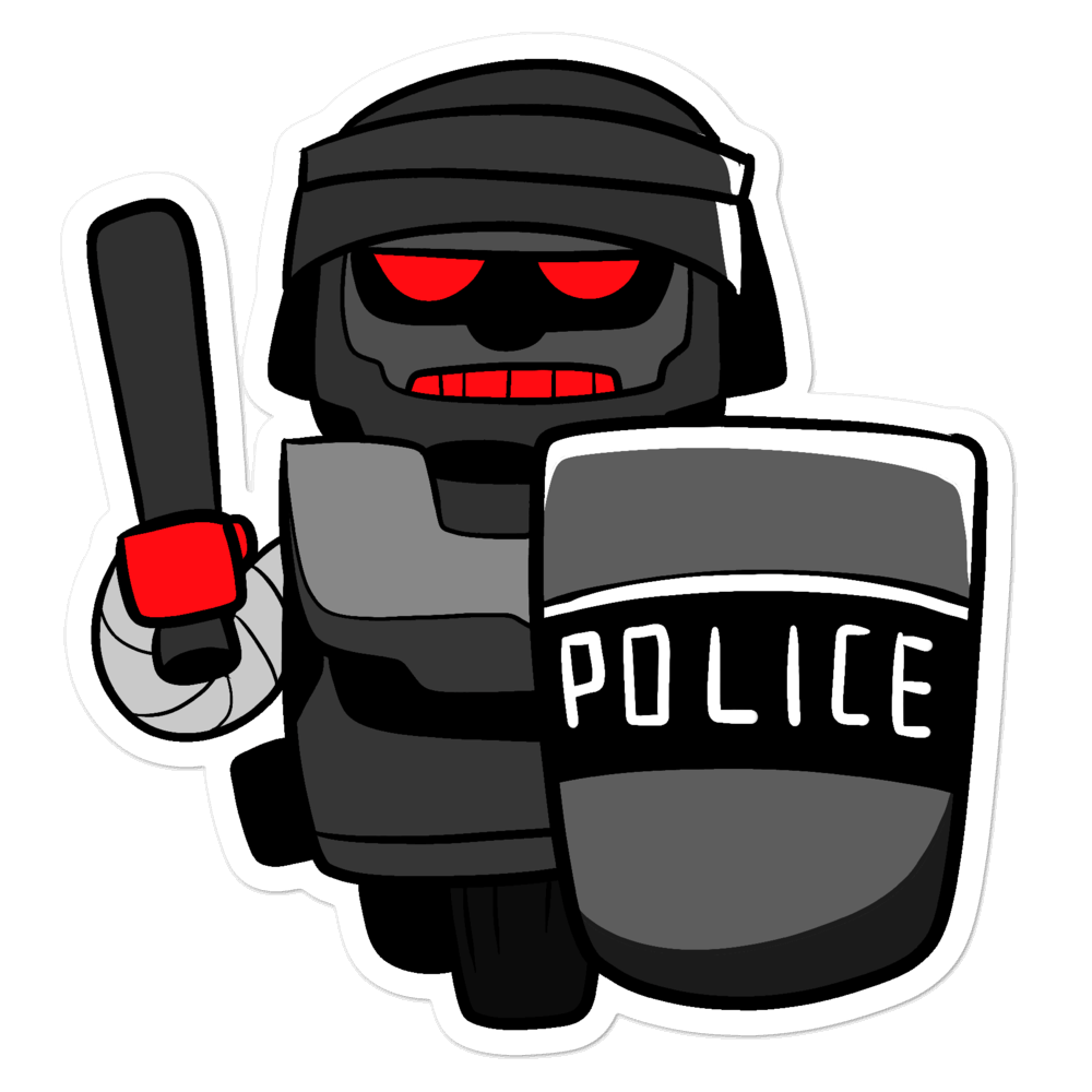 InHuman Police Robot Cartoon - Bubble-free stickers - Proud Libertarian
