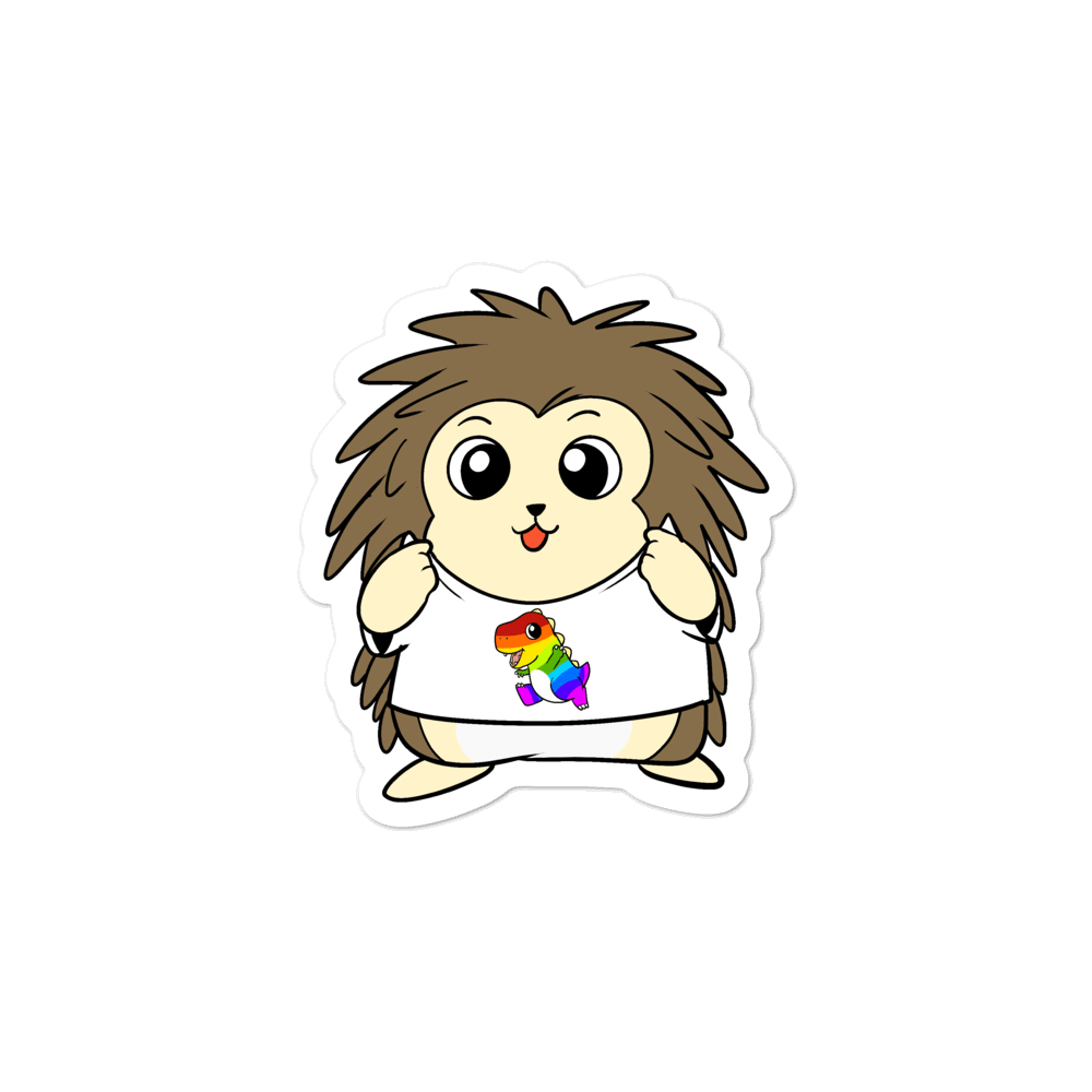 LGBTQ Tyrannosaurus Rex Cartoon Porcupine - Bubble-free stickers