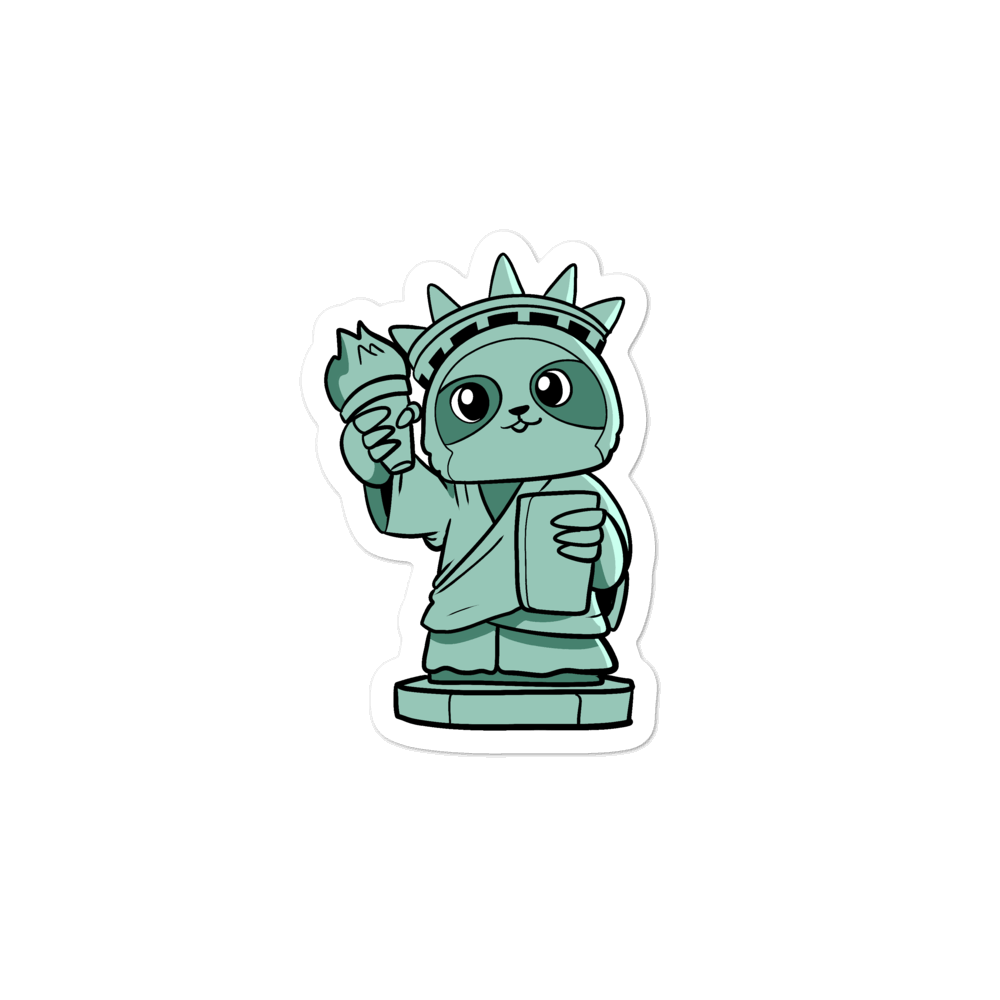 Sloth of Liberty Cartoon - Bubble-free stickers
