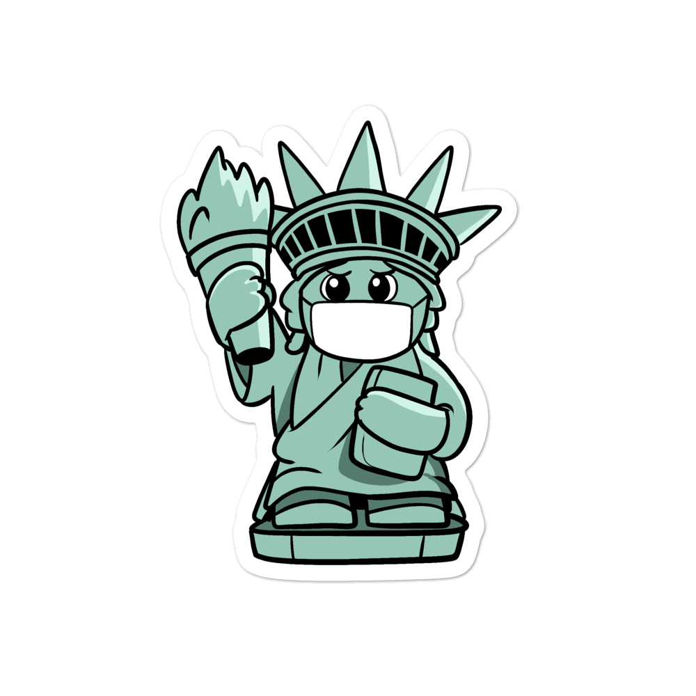 Masked Liberty Cartoon - Bubble-free stickers - Proud Libertarian
