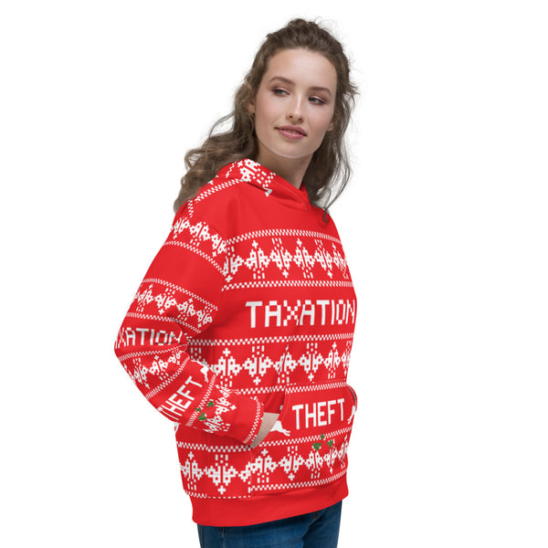 Ugly Christmas Sweater Taxation is Theft Hoodie - Proud Libertarian
