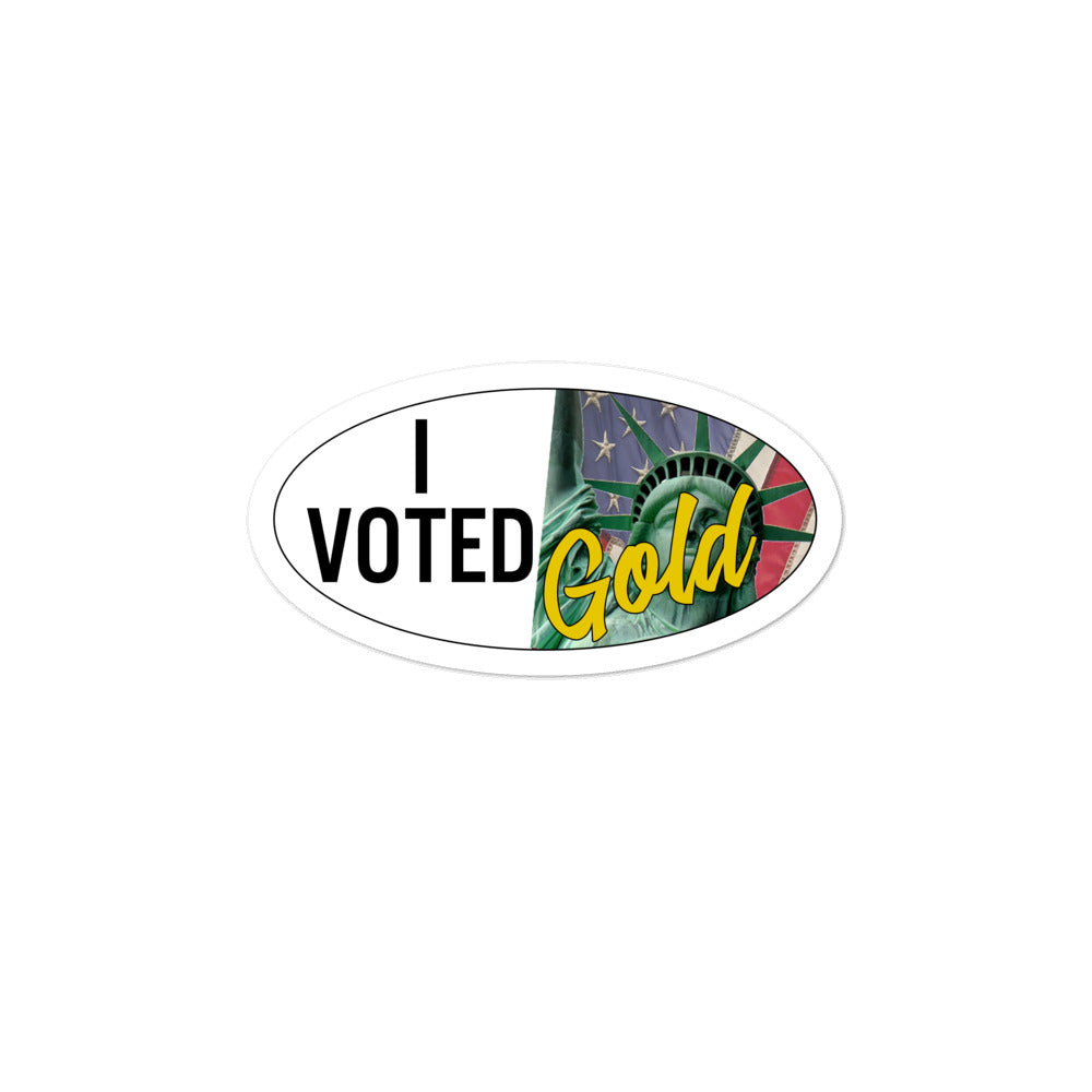 """I Voted Gold"" - Large Vote Stickers (Design 1) - Proud Libertarian"