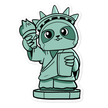 Sloth of Liberty Cartoon - Bubble-free stickers - Proud Libertarian
