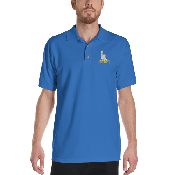 Love Liberty Embroidered Polo Shirt - Proud Libertarian