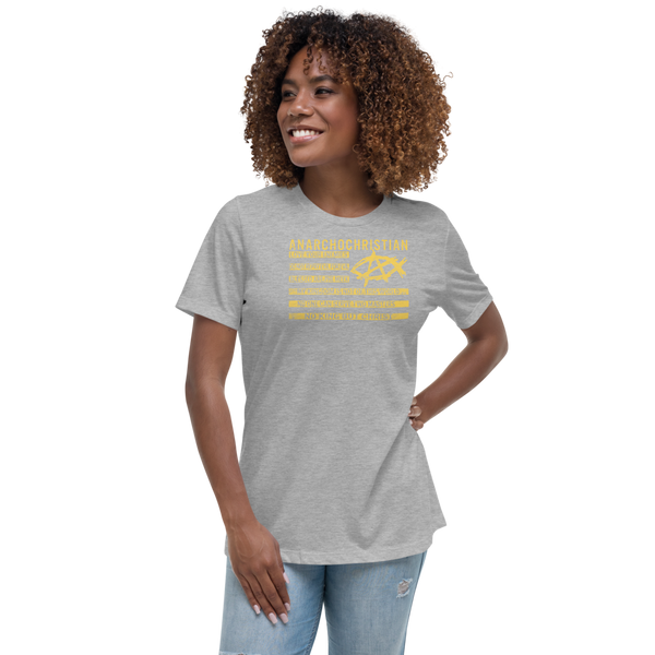AnarchoChristian No King But Christ Christian Flag Women's Relaxed T-Shirt - Proud Libertarian