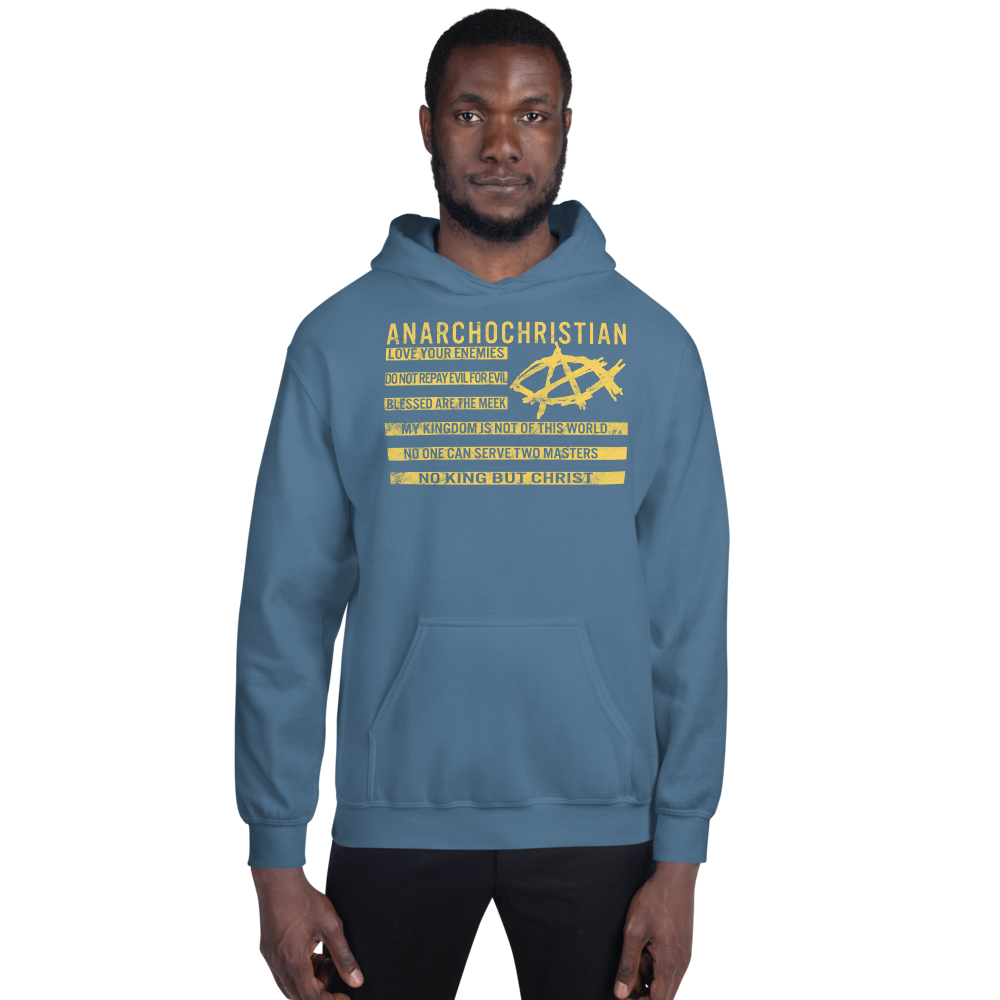 AnarchoChristian No King But Christ Christian Flag Unisex Hoodie - Proud Libertarian