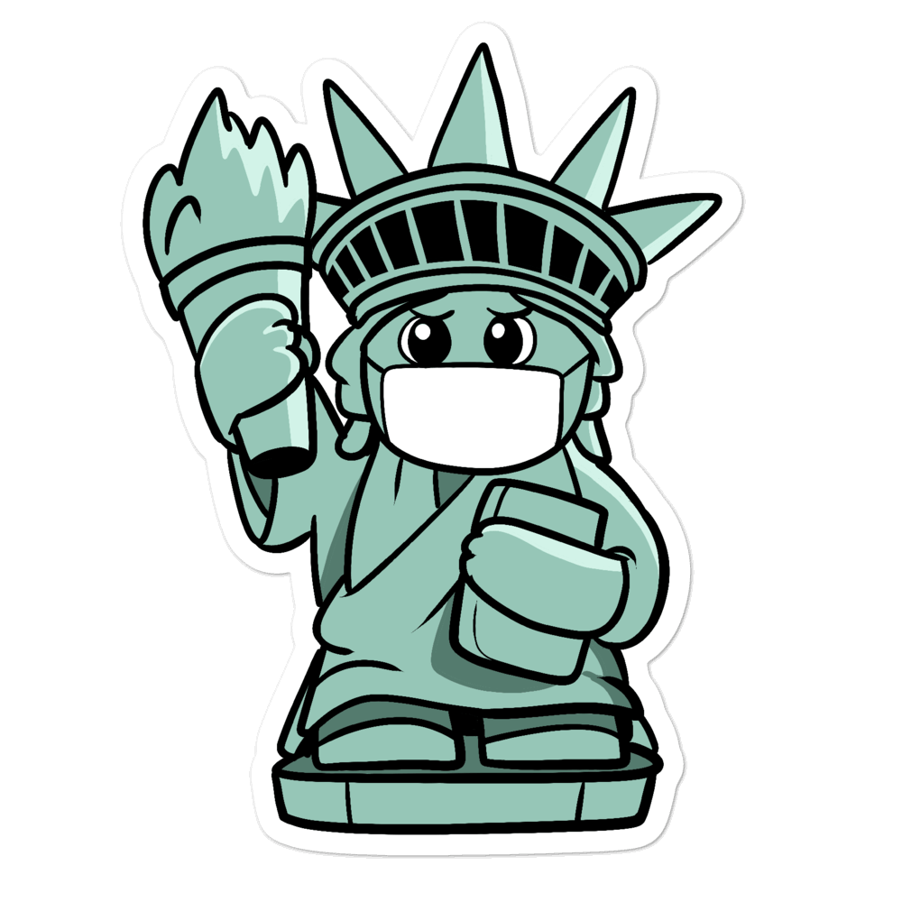 Masked Liberty Cartoon - Bubble-free stickers