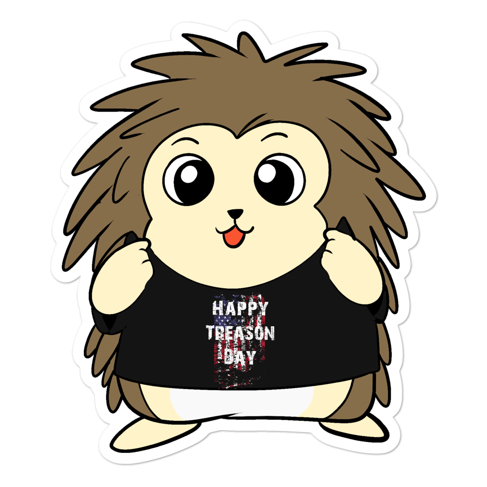 Happy Treason Day Cartoon Porcupine - Bubble-free stickers