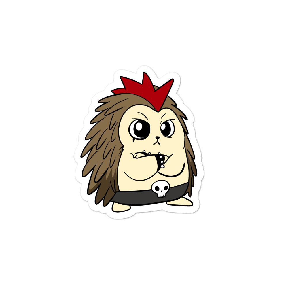 Angry Libertarian Cartoon Porcupine - Bubble-free stickers