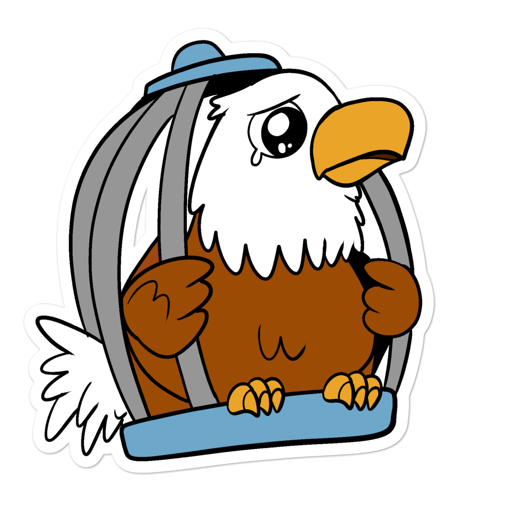 Caged Freedom Cartoon Bubble-free stickers - Proud Libertarian
