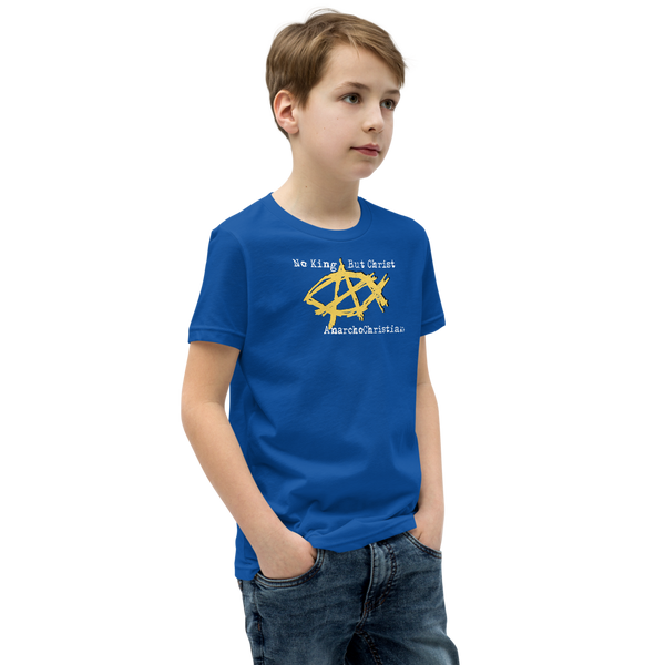 AnarchoChristian No King But Christ - Anarchist Jesus Fish Youth Short Sleeve T-Shirt - Proud Libertarian