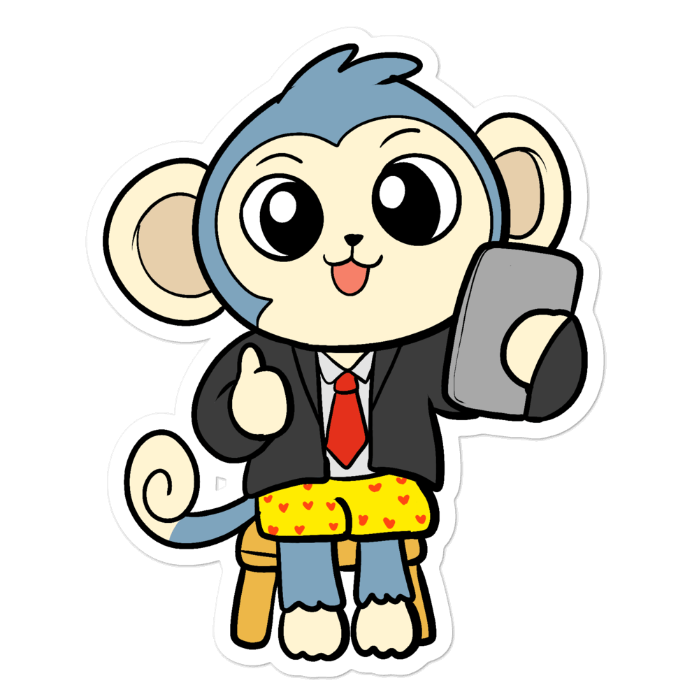 Liberty at Work From Home Cartoon - Bubble-free stickers