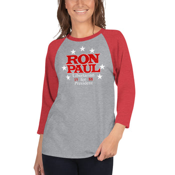 Ron Paul for President 3/4 sleeve raglan shirt - Proud Libertarian