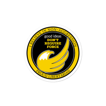 Proud Libertarian Logo - I believe in Non-Aggression Bubble-free stickers - Proud Libertarian