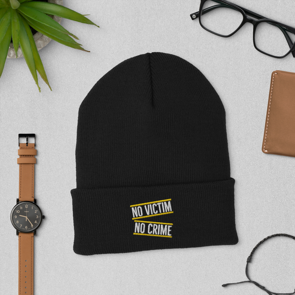No Victim No Crime Cuffed Beanie - Proud Libertarian
