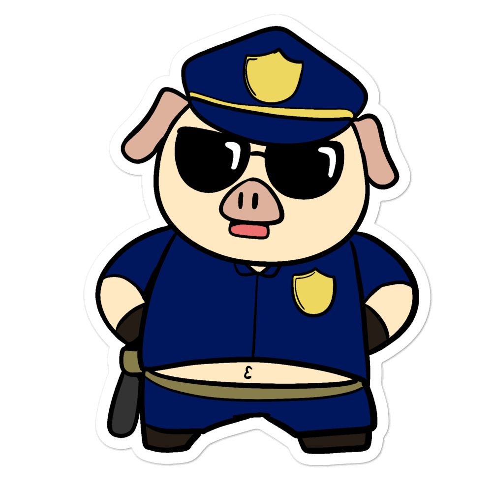 Police Pig Cartoon - Bubble-free stickers - Proud Libertarian