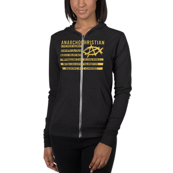 AnarchoChristian No King But Christ - Christian Flag Unisex zip hoodie - Proud Libertarian