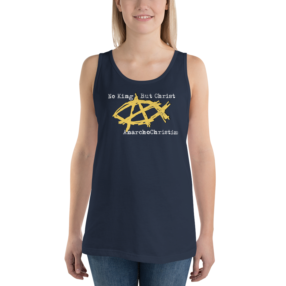 AnarchoChristian No King But Christ - Anarchist Jesus Fish Tank Top Tank Top - Proud Libertarian