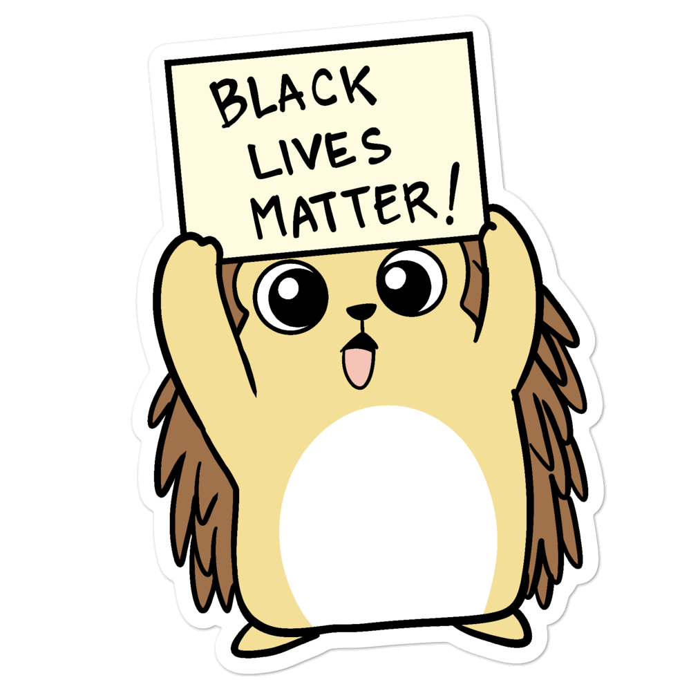 Black Lives Matter Porcupine Cartoon - Bubble-free stickers