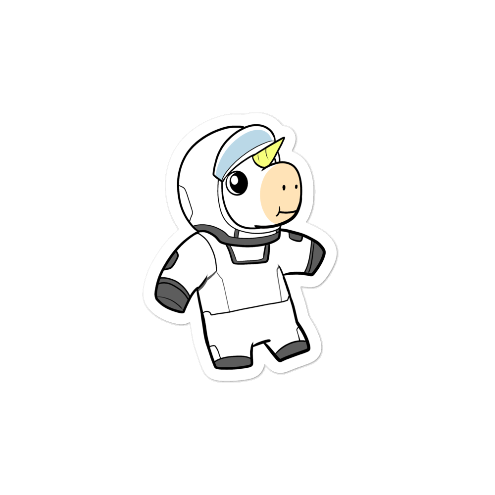 Space Unicorn Cartoon - Bubble-free stickers