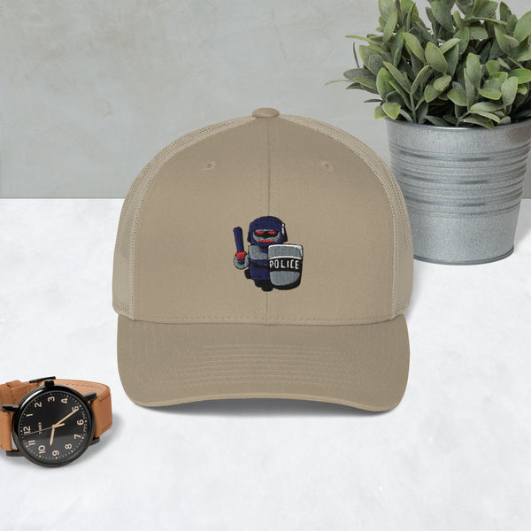 Inhuman Police Cartoon Robot Trucker Cap - Proud Libertarian