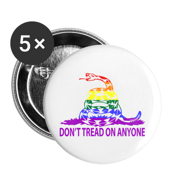 Don't Tread on Anyone LGBT Buttons large 2.2'' (5-pack) - Proud Libertarian