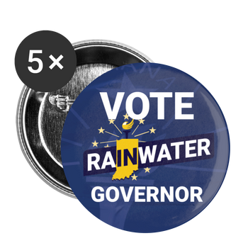 VOTE Rainwater Governor Buttons (Blue) large 2.2'' (5-pack) - Proud Libertarian