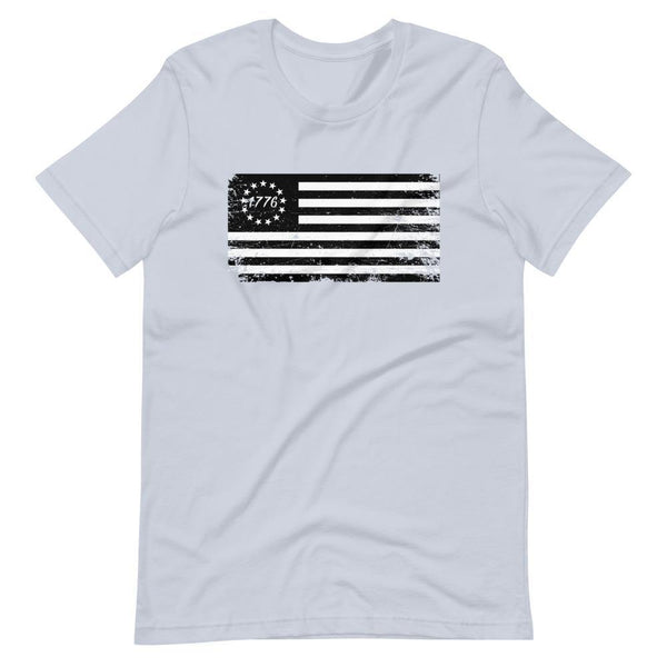 Betsy Ross Flag Black 1776 Distressed Short-Sleeve Unisex T-Shirt - Proud Libertarian