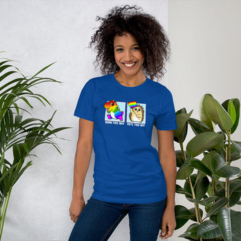 Born This Way / Vote This Way LGBT Pride Cartoon Porcupine and Dinosaur T-Shirt - Proud Libertarian