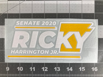 Ricky Harrington Jr for US Sentate Vinyl Window Decal - Proud Libertarian