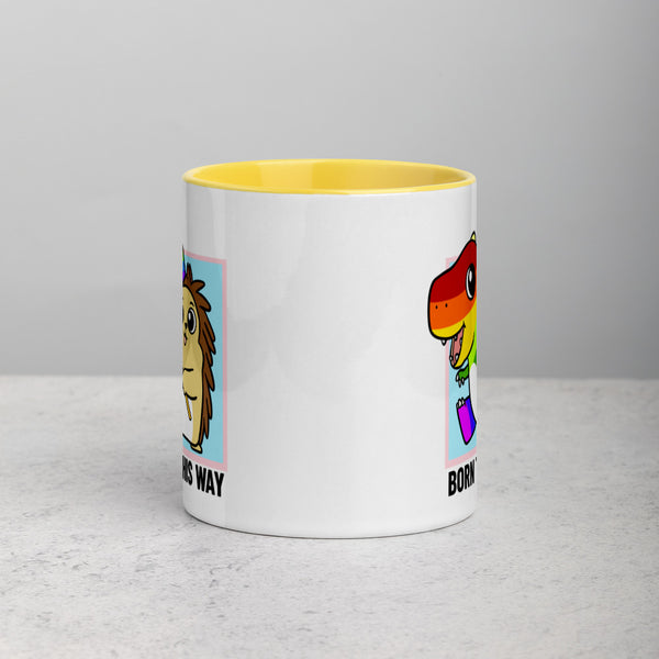 Born This Way LGBT Pride Cartoon Porcupine and Dinosaur Mug with Color Inside - Proud Libertarian
