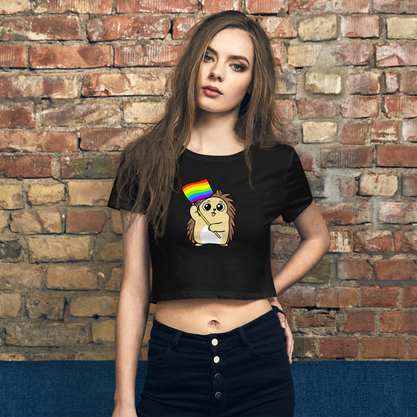 LGBTQ Cartoon Porcupine Women's Crop Tee - Proud Libertarian