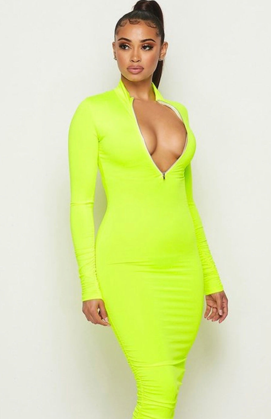 Neon Zip Up Dress