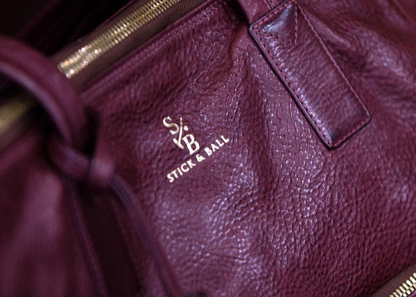 Burgundy vegetable-tanned Italian Leather Tote - Palermo Soho by Stick & Ball
