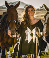 Inca Star Poncho Modeled with Horses
