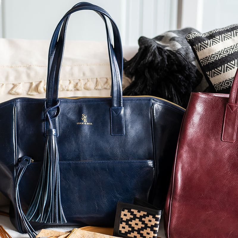 Handcrafted vegetable-tanned leather Palermo Soho Tote in Navy and Woven Wallet in Black - Stick & Ball