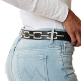 Side view of Woman wearing of Black Leather Correntino Polo Belt with Ivory Stitching - Stick & Ball