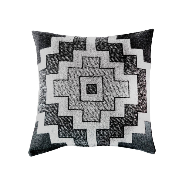 Jacquard-loomed Pampa Design Alpaca Pillow - Charcoal & Ecru - Stick & Ball