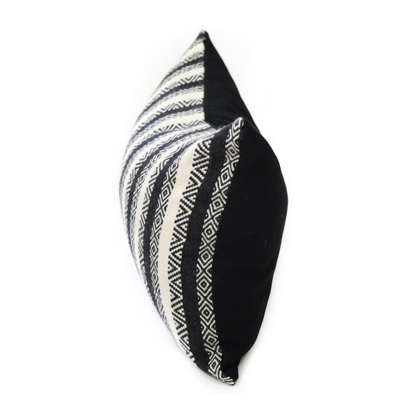 Side view of Hand-loomed Diamond Stripe Alpaca Throw Pillow - Stick & Ball