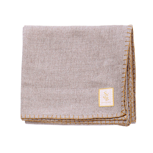 Loom & hand-stitched Taupe Alpaca Throw Blanket with Gold Stitch - Stick & Ball
