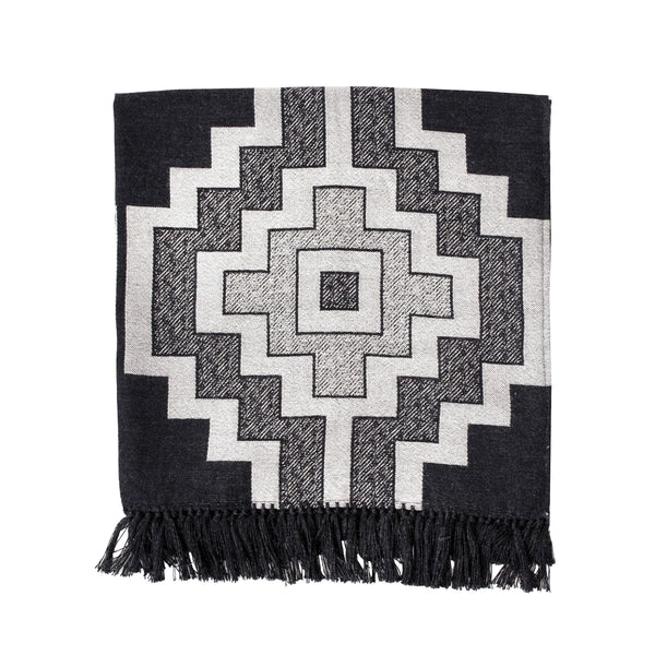 Jacquard-loomed Pampa Design Alpaca Throw Blanket, folded - Charcoal & Ecru - Stick & Ball