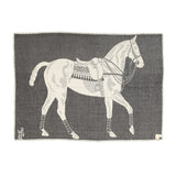 Rerverse Side of Jacquard-loomed Polo Pony Alpaca Throw Blanket - Charcoal - Stick & Ball