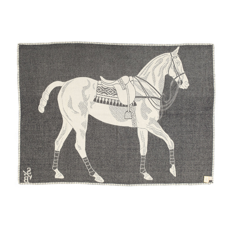 Stick & Ball Polo Pony Throw - Charcoal