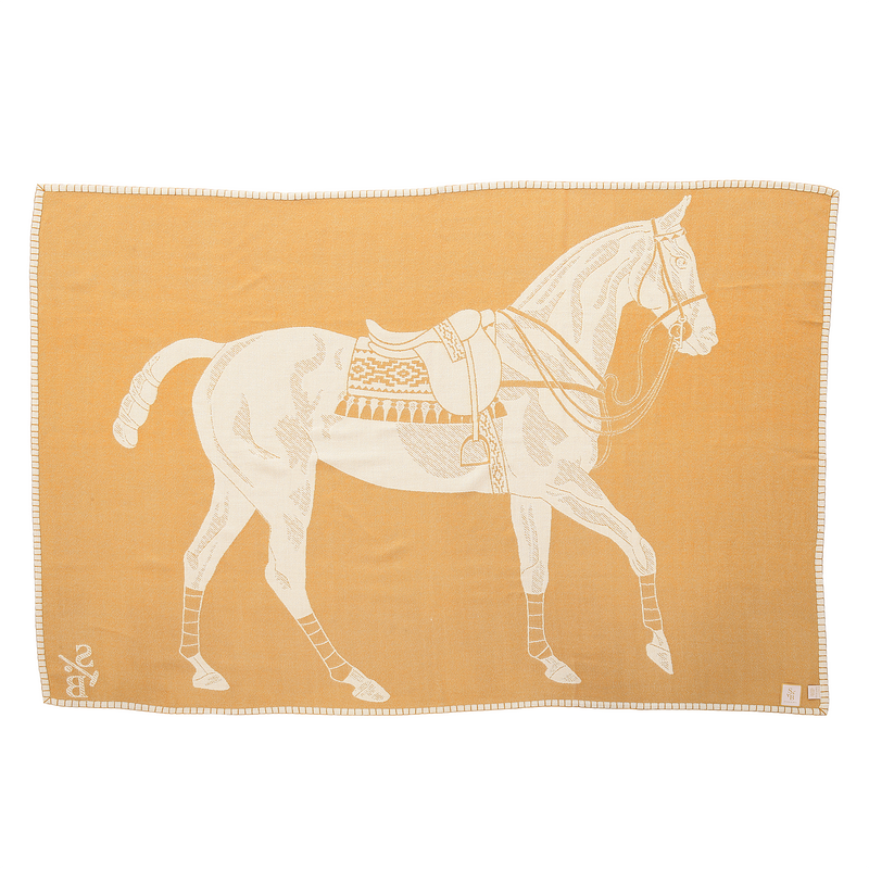 Reverse Side of Jacquard-loomed Polo Pony Alpaca Throw Blanket - Gold - Stick & Ball