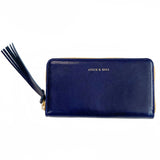 Handmade Vegetable-tanned Italian Leather Zip/Clutch Wallet in Navy - Stick & Ball