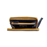 Vegetable-tanned Italian Leather Zip/Clutch Wallet in Navy, interior, gold zipper - Stick & Ball