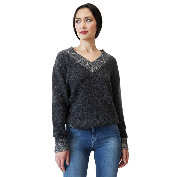 Women wearing classic v neck alpaca sweater in grey - Stick & Ball