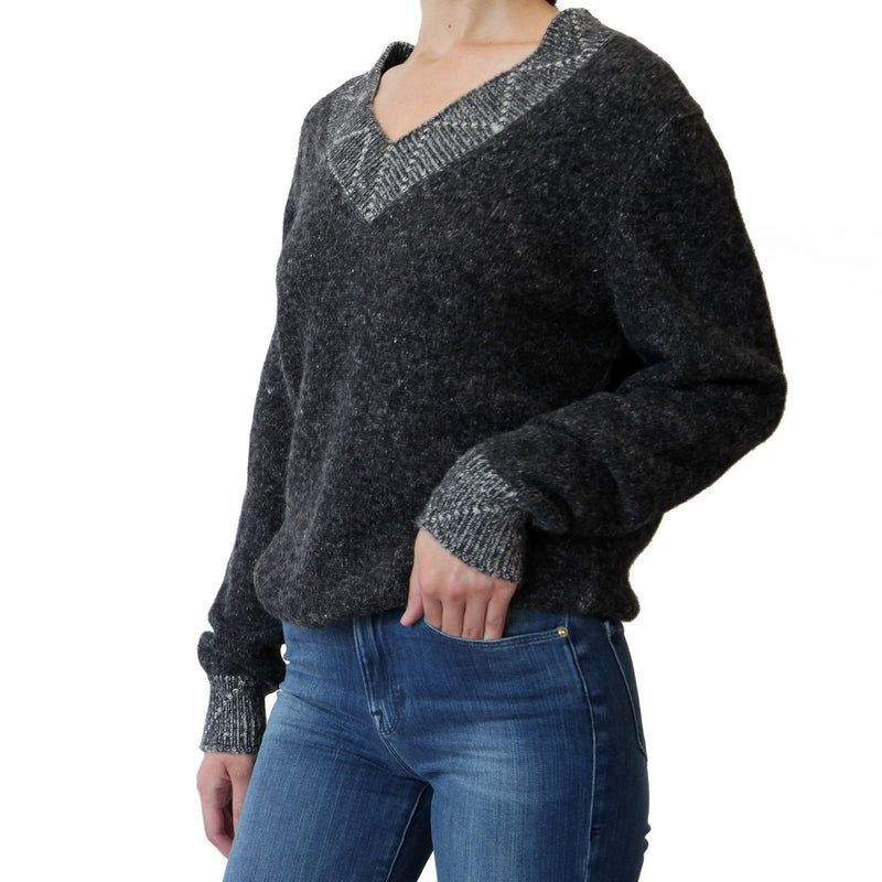 woman side view of alpaca v-neck charcoal grey  sweater - Stick & Ball