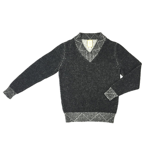 Alpaca Classic V-Neck Sweater - Charcoal / Grey - Stick & Ball